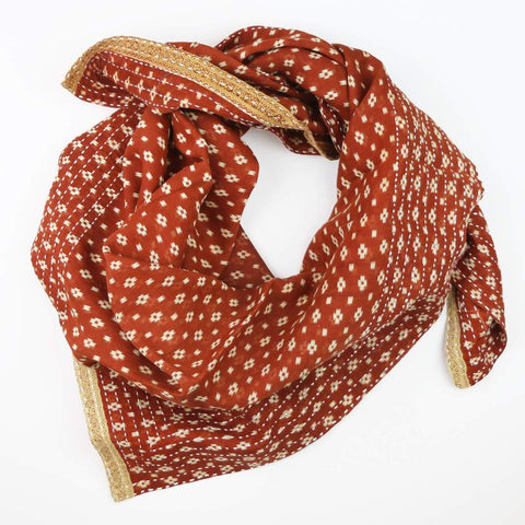 Anchal- Handmade Cotton Square Scarf Rust and Gold Check ethical gifts