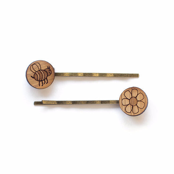 Bee and flower hair pins - jewellery - eco friendly - sustainable jewelry - jewelry - One Happy Leaf
