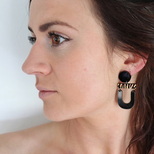 Black abstract dangle eco earrings Australia