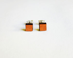 Small square studs - hand painted copper - jewellery - eco friendly - sustainable jewelry - jewelry - One Happy Leaf