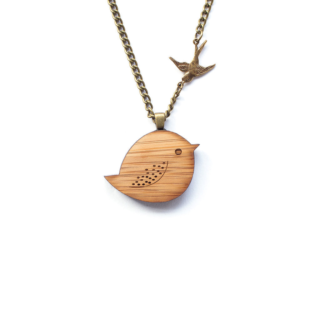 Wooden bird necklace from perth one happy leaf sparrow necklace jewellery eco friendly sustainable jewelry jewelry one happy leaf aloadofball Images