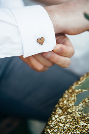 Love heart cufflinks