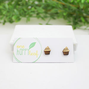 Cupcake earrings, sweet earrings, cupcake studs, eco earrings, eco jewellery