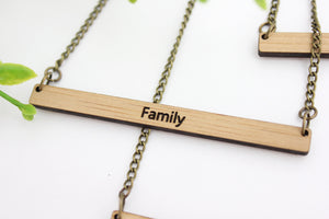 Simple engraved word necklace