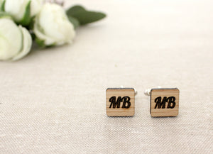 Square initial cufflinks - jewellery - eco friendly - sustainable jewelry - jewelry - One Happy Leaf