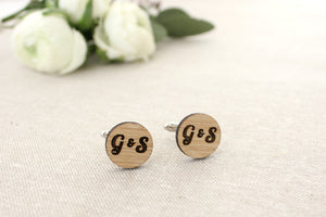 Circle initial cufflinks - jewellery - eco friendly - sustainable jewelry - jewelry - One Happy Leaf