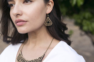 Pyramid drop earrings - jewellery - eco friendly - sustainable jewelry - jewelry - One Happy Leaf