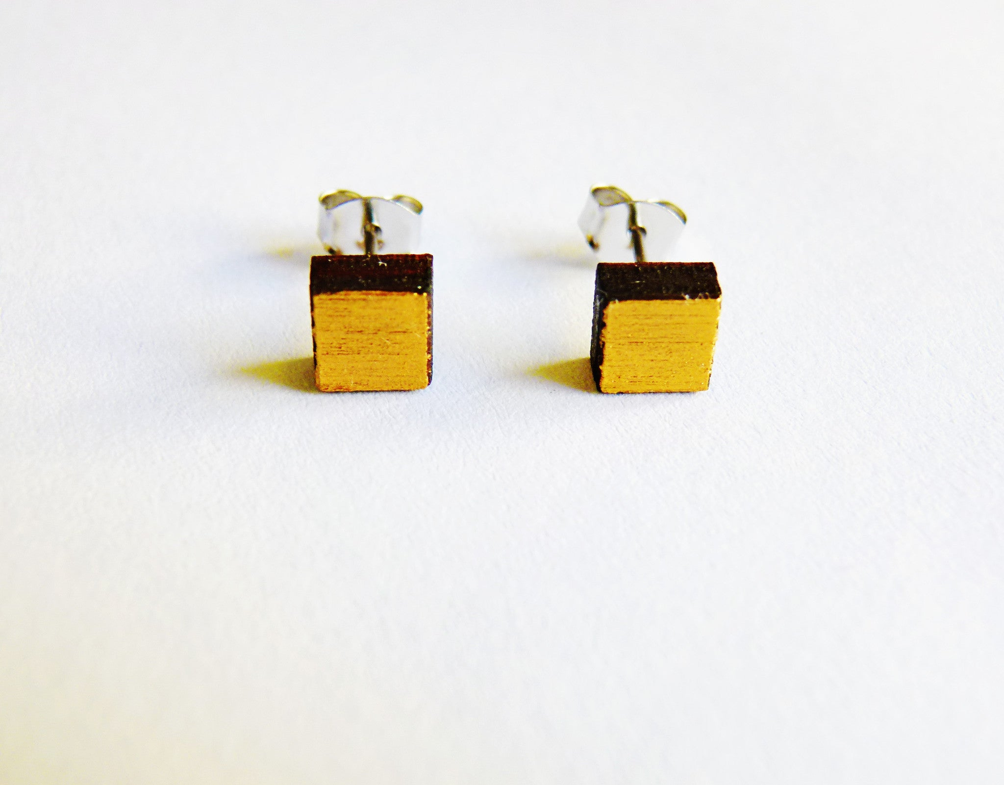 Gold Painted Square Stud Earrings