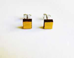 Small square studs - hand painted gold - jewellery - eco friendly - sustainable jewelry - jewelry - One Happy Leaf