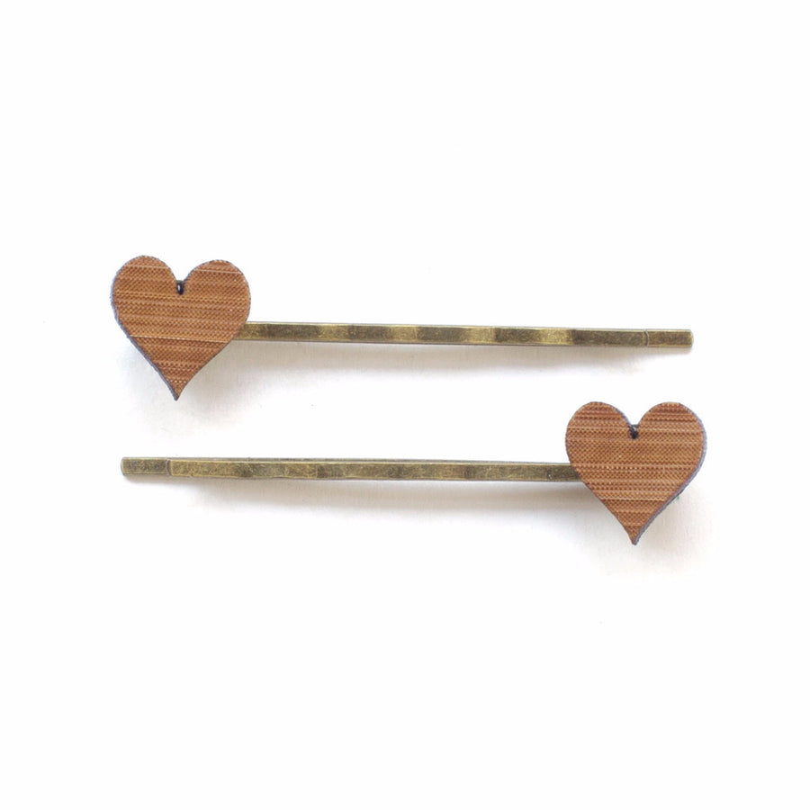 Love heart hair pins - jewellery - eco friendly - sustainable jewelry - jewelry - One Happy Leaf