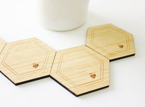 Honeycomb coasters (set of 4) - jewellery - eco friendly - sustainable jewelry - jewelry - One Happy Leaf
