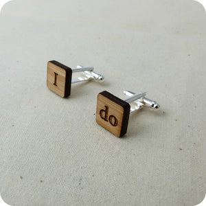 'I do' wedding cufflinks - jewellery - eco friendly - sustainable jewelry - jewelry - One Happy Leaf