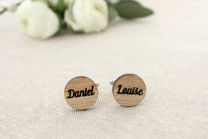 Circle with names cufflinks - jewellery - eco friendly - sustainable jewelry - jewelry - One Happy Leaf