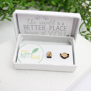 Tea bag and tea cup earrings