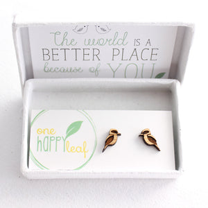 Kookaburra stud earrings, kookaburra jewellery