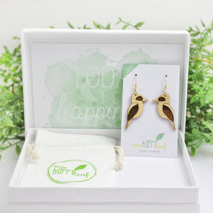 Kookaburra bird earrings australia eco designs