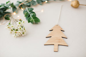 Wooden christmas tree ornament