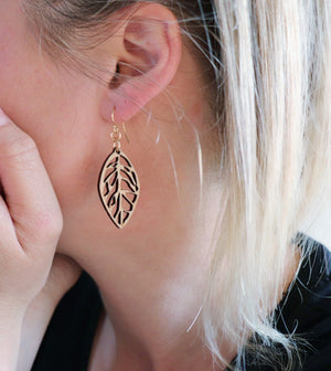 Leaf dangle earrings eco