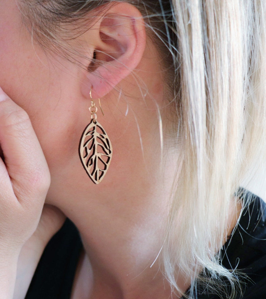 Long leaf earrings - jewellery - eco friendly - sustainable jewelry - jewelry - One Happy Leaf