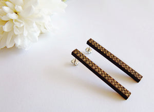 Long patterned bar studs - jewellery - eco friendly - sustainable jewelry - jewelry - One Happy Leaf