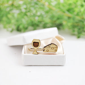 Wine and cheese cufflinks, wooden gift wedding anniversary, wine lover gift, gift for men