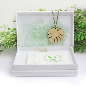 Monstera necklace, jewellery eco friendly, leaf necklace, sustainable jewellery austalia