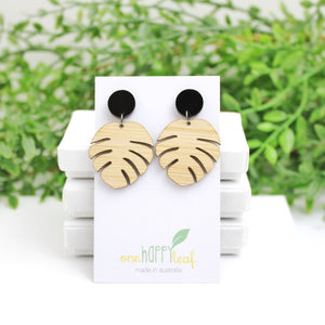 Monstera leaf earrings, leaf earrings, monstera jewellery, sustainable jewellery, eco jewellery Australian jewellery