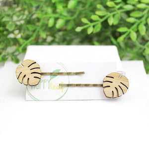 Monstera leaf hair pin, hairpins, leaf hairpin, sustainable bamboo jewellery, eco jewellery, Australia