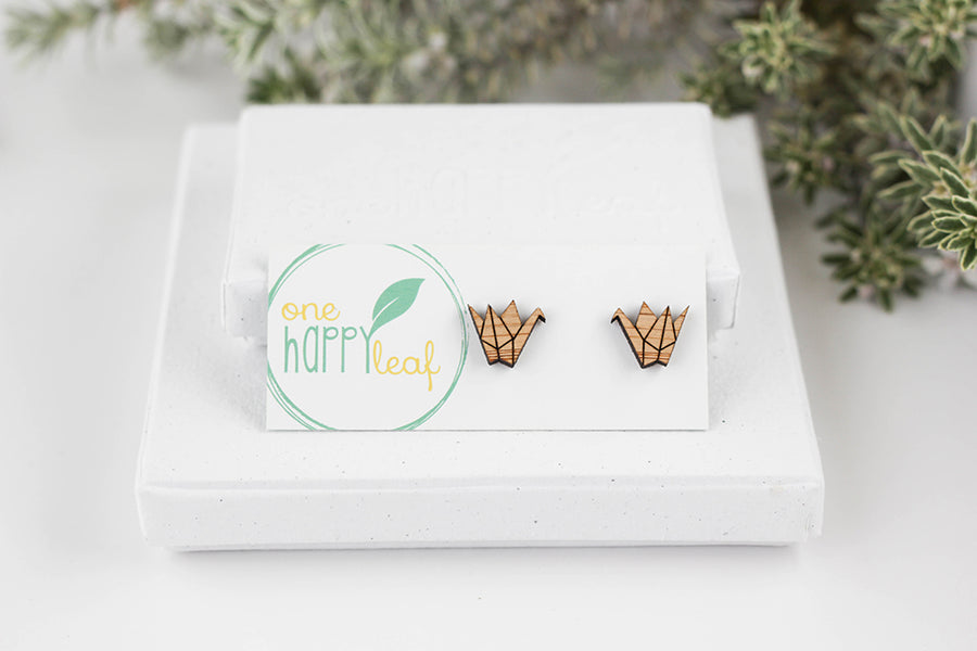 Origami crane gift, origami crane jewellery, origami crane stud earrings