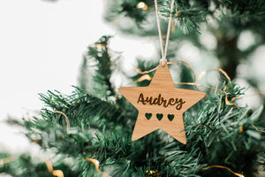 Christmas star ornament custom with name