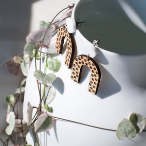Polka dot statement earrings