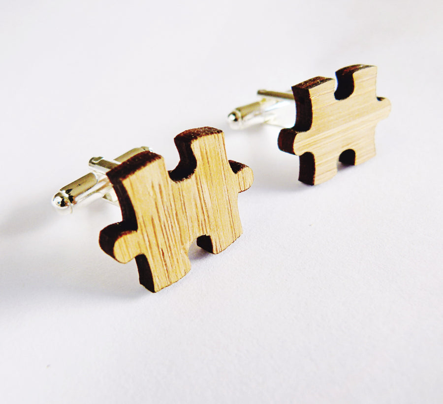 Puzzle piece cufflinks - jewellery - eco friendly - sustainable jewelry - jewelry - One Happy Leaf