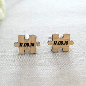 Personalised puzzle piece cufflinks - jewellery - eco friendly - sustainable jewelry - jewelry - One Happy Leaf