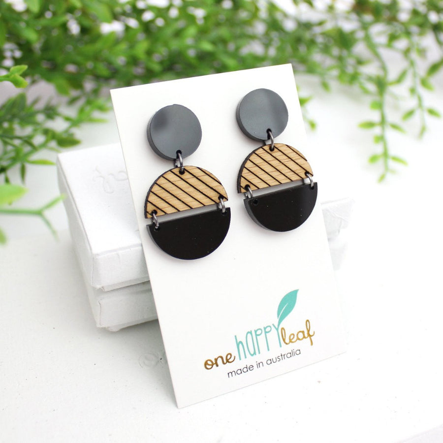 Black statement night earrings