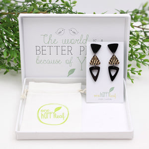Retro black dangle earrings Australia sustainable