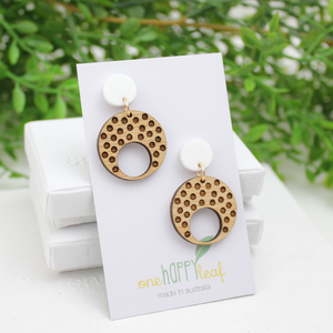 Polka dot dangle earrings statement