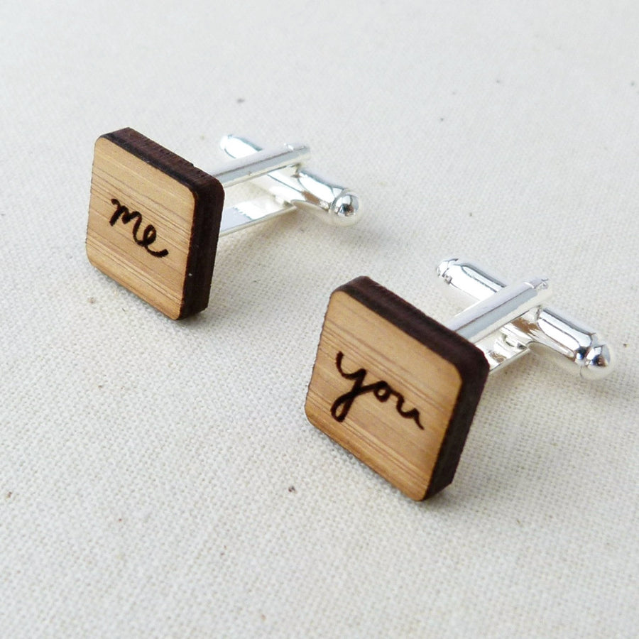 Square 'me' + 'you' cufflinks - jewellery - eco friendly - sustainable jewelry - jewelry - One Happy Leaf