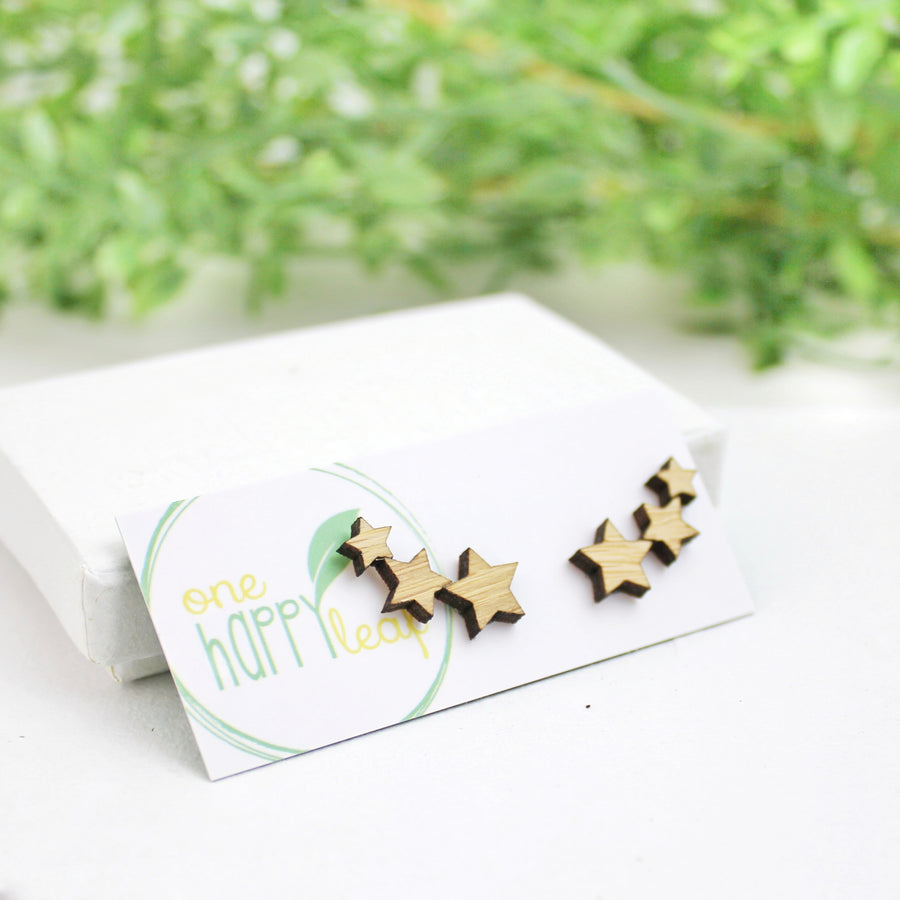 Multi star climbers, Star earrings, star studs, cute star earrings, australia made eco jewellery