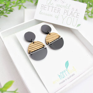 One Happy Leaf earrings, statement black