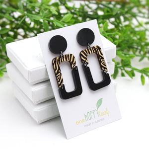 Statement earrings black two toned
