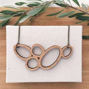 Sustainable fashion wooden necklace
