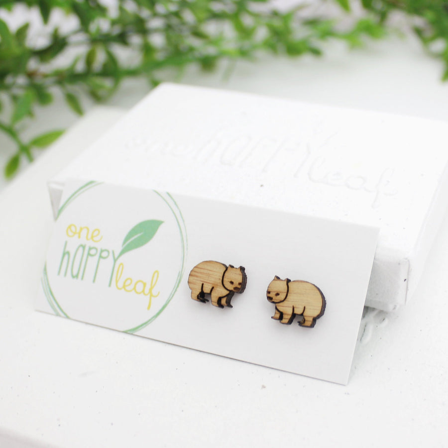 Wombat jewellery, wombat stud earrings