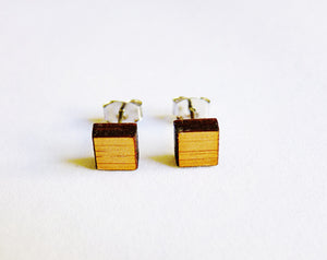 Small square studs - natural - jewellery - eco friendly - sustainable jewelry - jewelry - One Happy Leaf