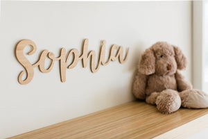 wooden cut out name sign for child