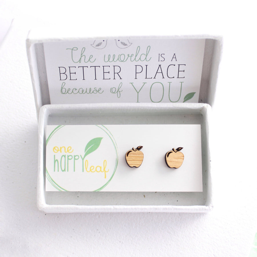 apple earrings, apple studs