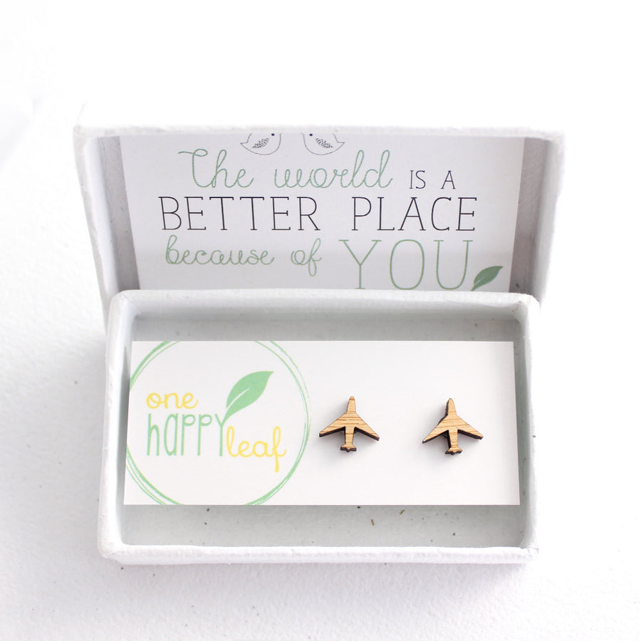 Aeroplane earrings, plane studs, plane stud earrings