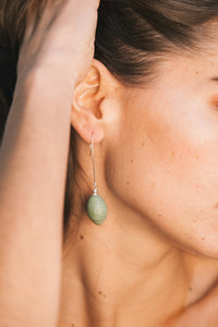 Aša Long Earrings - Green