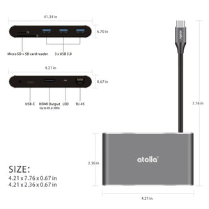 atolla 8-in-1 USB C HDMI Hub and Ethernet
