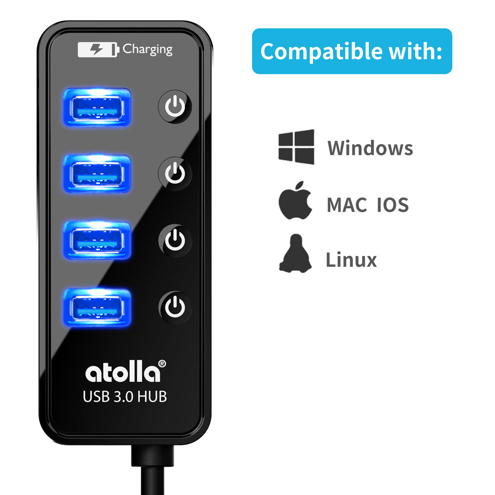 Atolla Powered 4-port USB 3.0 Hub (204-WX)
