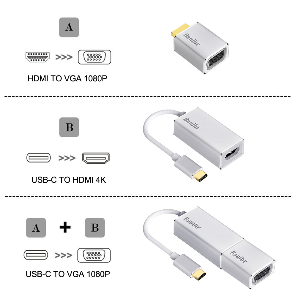 Bauihr USB C to HDMI VGA Adapter (C1)